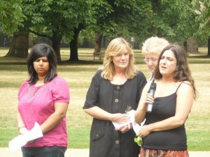 Felicity (centre) with speakers at Memorial